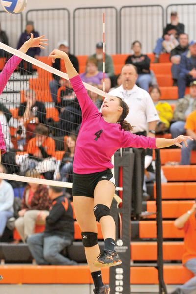 Setter Cassi Heumiller got a kill for the final point of the regular season. The Lady Tigers defeated Leola-Frederick 3-1 at Mobridge-Pollock High School Gymnasium on Thursday.- Photo by Travis Svihovec -