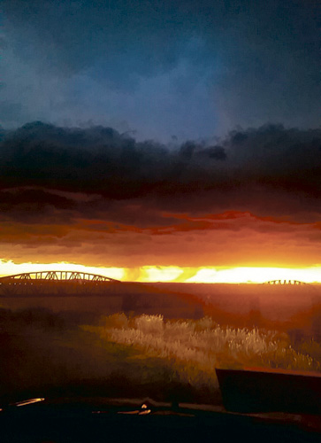 After the storm on Thursday, July 7 went through Mobridge it brought in a beautiful orange sunset over Lake Oahe.