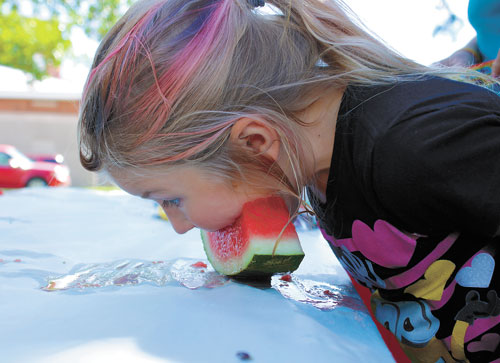 Lainey Blankartz, daughter of Desiree Blankartz, works to be the first to finish the melon during the watermelon eating contest, Saturday, Sept. 10 at the city park.